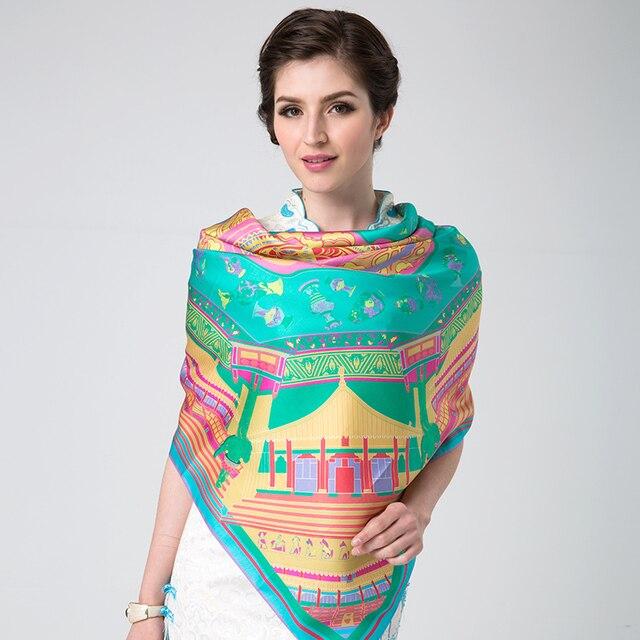 New2014brand женщин весна лето большие площади зеленый бренд 100% чистый шелковицы шелковый шарф femaleh мода шелковые платки 110 * 110 см