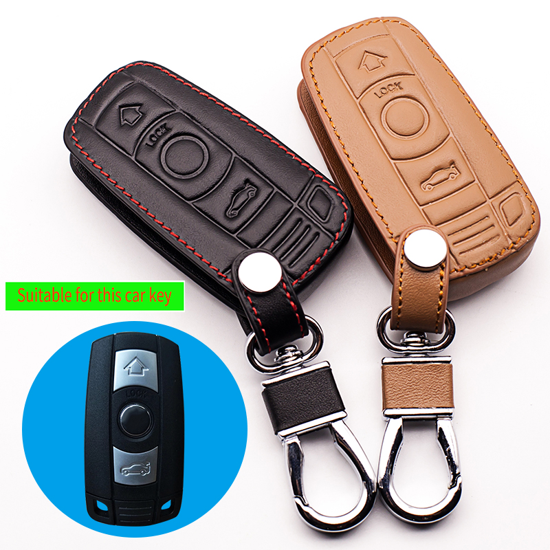 Hot sale Genuine Leather Car Key case Cover for BMW 1/3 5series X1 X3 X5 X6 Z4 Smart 3 buttons remote protect shell starline a93 стоимость