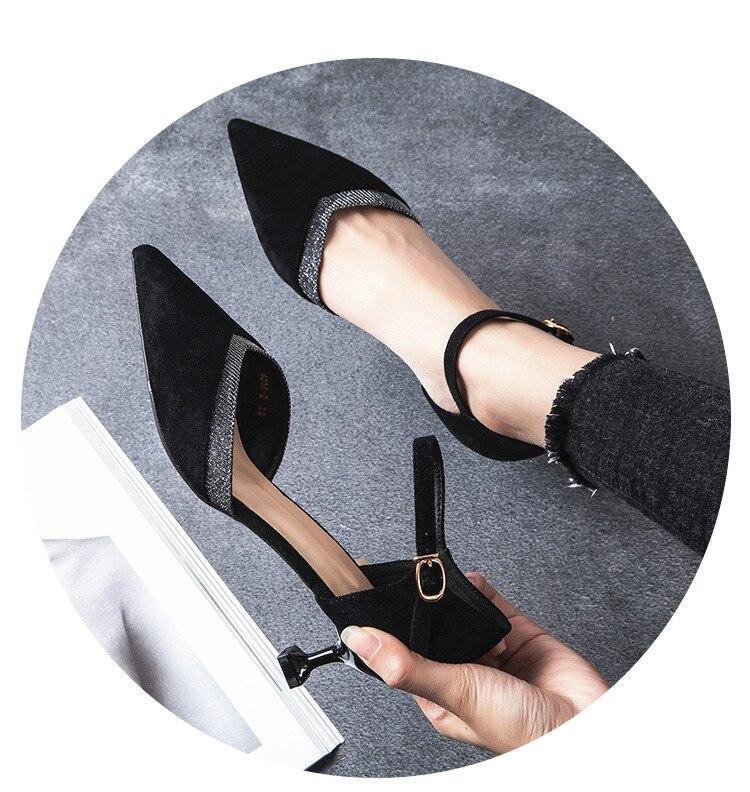 2018 새로운 도착 좋은 품질의 결혼식 신발 하이힐 얕은 사무실 지적 발가락 블랙 컬러-에서여성용 펌프부터 신발 의  그룹 1