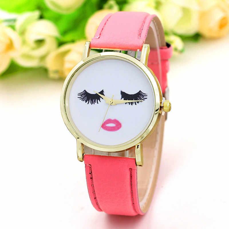 2018 New Fashion Dress Quartz Women Watches Leather Analog Ladies Wrist Watches Lovely Eyelash Wrist Watches For Women Clock
