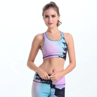2017 New Gradient Print Breathable Women Sporting Fitness Bra Tops Shockproof Workout Women Bra Quick Dry Sportswear For Female
