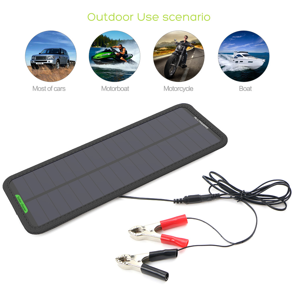 12V Solar Car Charger Battery Maintainer Keep from Car Battery Drain Out Power No Worry Current Backflow.