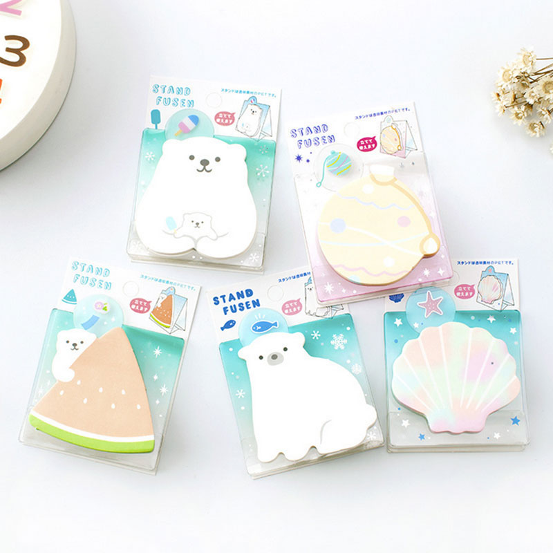 1 pcs Summer series polar bear Can stand memo pad Post notes sticky notepad stationery papeleria school supplies kids gifts