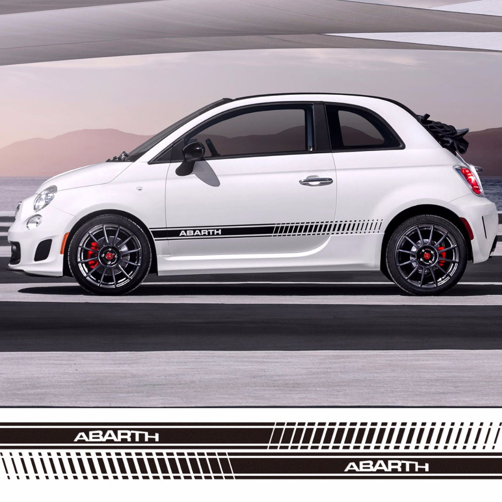 car styling abarth side skirt sticker racing stripe body stickers for fiat 500 grande punto. Black Bedroom Furniture Sets. Home Design Ideas