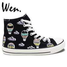 Wen Original Hand Painted Shoes Design Custom Purple Cloud Hot Air Balloon In Sky Men Women's High Top Canvas Sneakers for Gifts