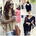 2016 Jumper Cape Ponchos Oversize Knitwear Sweater Tops Pullover Navy Apricot  Batwing Sweater Women