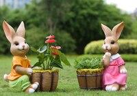 Простое животное скульптура Смола кролики ремесло Открытый украшения 2 шт./лот сад ремесло, украшения дома Украшения
