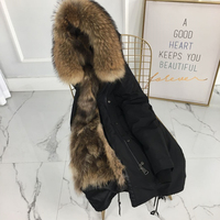 New silver fox fur parka coat women knitted silver fox fur lined parkas black winter thick real fur coat warm female outerwear