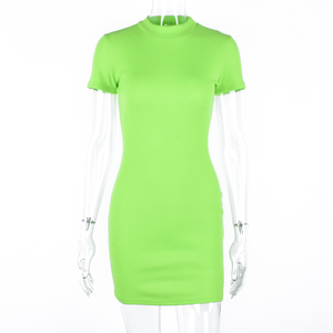 Image 5 - Hugcitar מצולעים לסרוג ניאון ירוק orange קצר שרוול t חולצה bodycon מיני שמלת 2019 קיץ נשים streetwear מסיבת בגדים