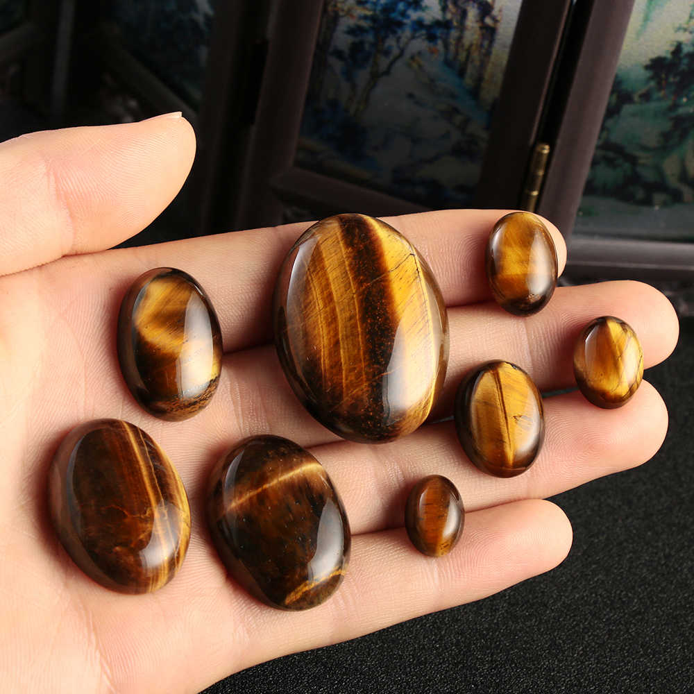 1PC Yellow Tiger Eye Cabochon Bead Natural Stone CAB No Hole Fit DIY Handicrafts Reiki Jewelry Women Men Bracelet Dropship