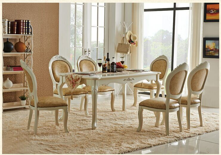 Newest Wholesale Europe Classic Style Dining Room Sets Furniture Table And  Chairs L909(China)
