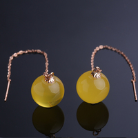 Robira Natural Amber Beads Drop Earrings for Women Wedding Punk 18K Gold Color Long Tassel Dangle Bar Statement Jewelry
