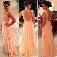 High quality Vintage nude back Bridesmaid Dress chiffon lace long peach color for sale cheap bridesmaid dress brides maid dress