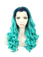 Imstyle Loose deep ombre green 24 inches heat resistant synthetic hair Lace Front Wigs for women drag queen cosplay
