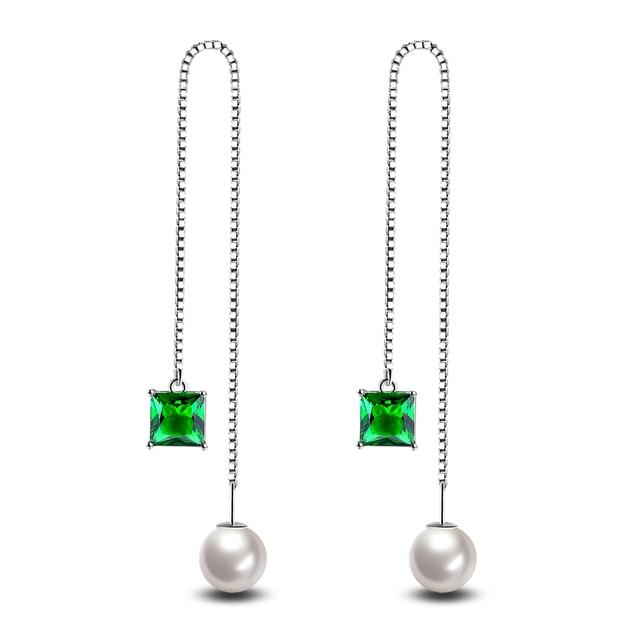 New Trendy Long Earrings Green White Zircon For Women Pearl Earring Jewelry