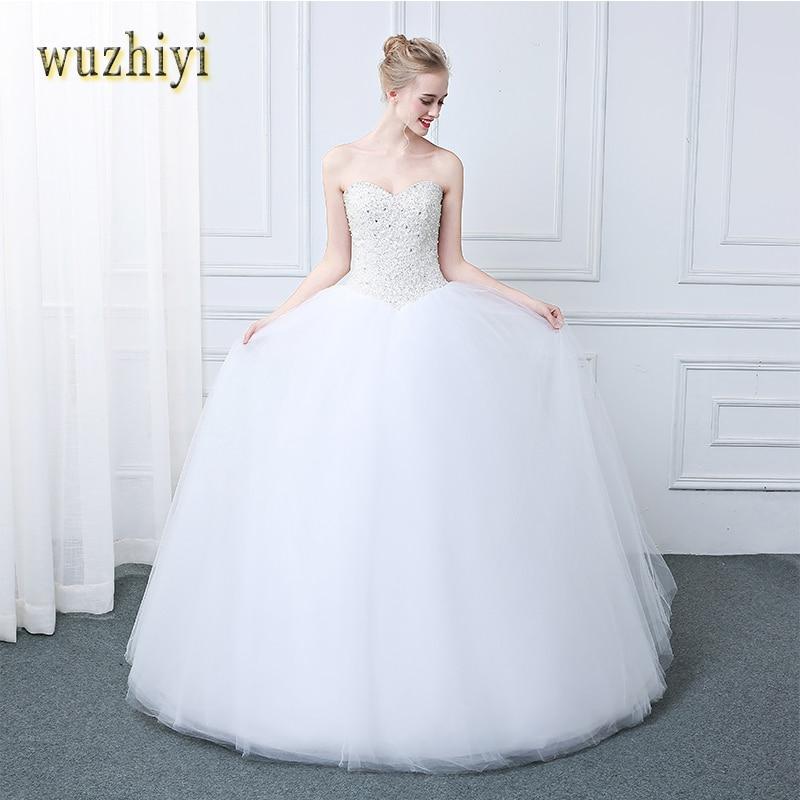 wuzhiyi Princess wedding dress 2018 Vestido De Novia Tulle Sexy Pearl Ball Gown Wedding Dresses Bridal