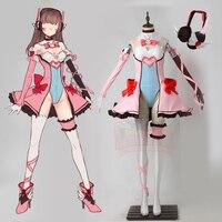 Magic meisje D. va cosplay kostuum volwassen kostuum roze magic dva meisje kostuum halloween vrouwen kostuum met hoofdtelefoon zonder schoenen