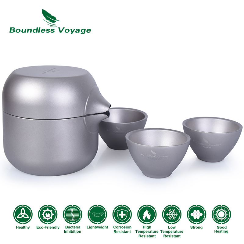 Boundless Voyage Outdoor Indoor Camping Double Layer Titanium Tea Kettle Pot with 3 Titanium Cups Tea