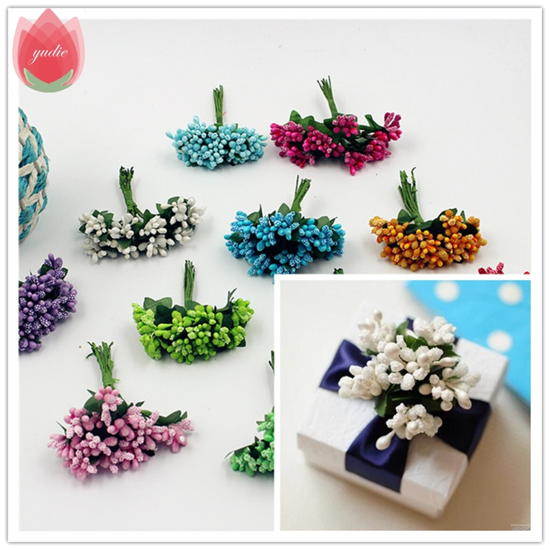 2017 12pcs Berry Artificial Stamen Handmade Flower For Wedding Home Decoration Pistil DIY Scrapbooking Garland Craft Fake Flower
