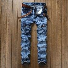 2017 zerrissene Distressed Reißverschluss Röhrenjeans Mode Lässig Designermarke Männer Biker Slim Fit Jeans