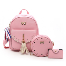 Fashion Backpack Female Pu Leather School Bags for Teenage Girls Women Backpacks New Tassel Shoulder Bags Black Pink Sac A Dos цена