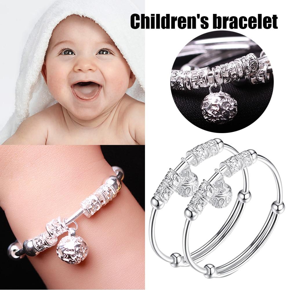 Adjustable Baby Children 925 Sliver Bell Bracelet Gift 52-54MM For Kids Birthday Gifts D30(China)