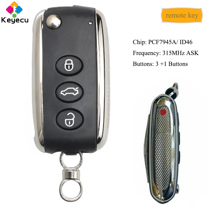 KEYECU Smart Flip Remote Key With 3+1/ 4 Buttons 315MHz - FOB For Bentley C*ontinental GT GTC Flying Spur 2006-2016, KR55WK45032