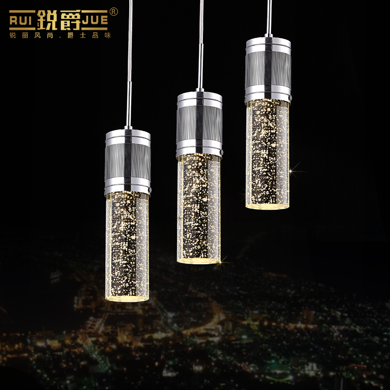 modern brief fashion K9 bubble crystal column led pendant light 3/6 heads for dining room restaurant AC 80-265V 1092