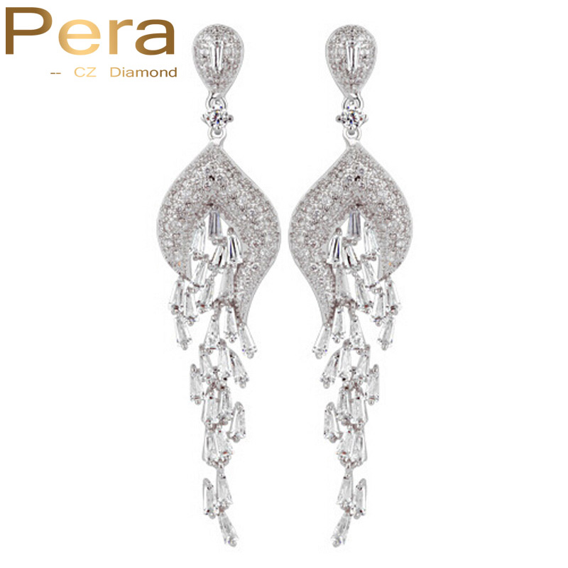 Pera Elegant Big Tassel Drop Style Cubic Zirconia Stones Women Long Evening Party Earrings With 925 Sterling Silver Pin E003 все цены