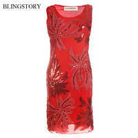 BLINGSTORY Elegant Sequined Embroidery Flower Lady Pretty Red dress party Dropshipping KR3025