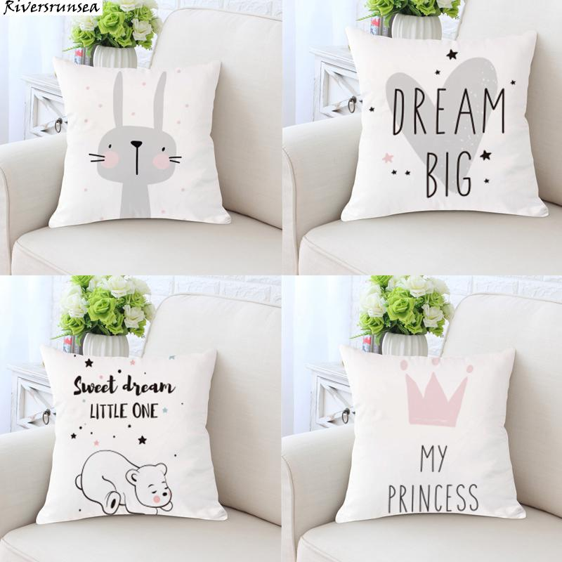 Cute Cartoon Rabbit Cushion Lovely Animal Princess Bear Dream Big Love Heart Print Throw Pillows For Children Room Decoration