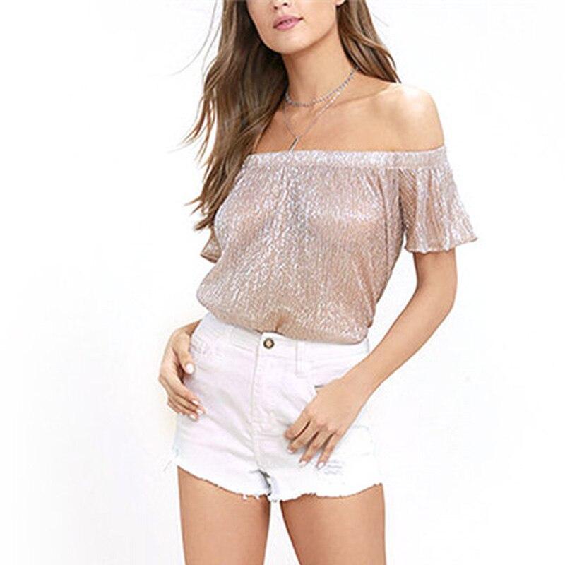 Модные прозрачные со спущенными плечами Для женщин летние топы 2018 Slash шеи короткий рукав Твердые свободные женская одежда