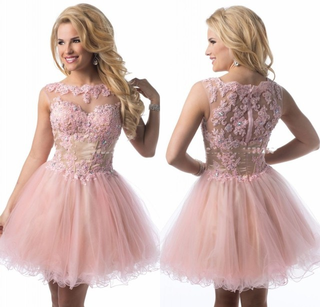 1fff6a4a5a2 2015 Cute Junior High Graduation Dresses Light Pink Homecoming Lace Corset  Bodice Organza Short Prom Party Dress