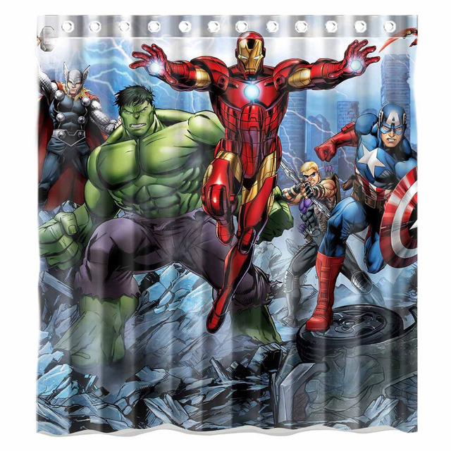 Aplysia Avengers Film Incredible Hulk e Iron Man Bagno Tende da Doccia Eco-Frien
