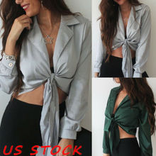 Womens V-Neck Wrap Satin Loose Casual Ladies Shirt Crop Tops Sexy