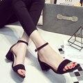 Гриб 2015 лето краткий официальный толстом каблуке с открытым носком сандалии ремень женская обувь рабочая обувь