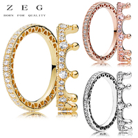 ZEG High Quality 100% Sliver Official Copy 1:1 Pan & Enchanted Crown Ring Have Logo Women Fashion Jewerly Free Mail