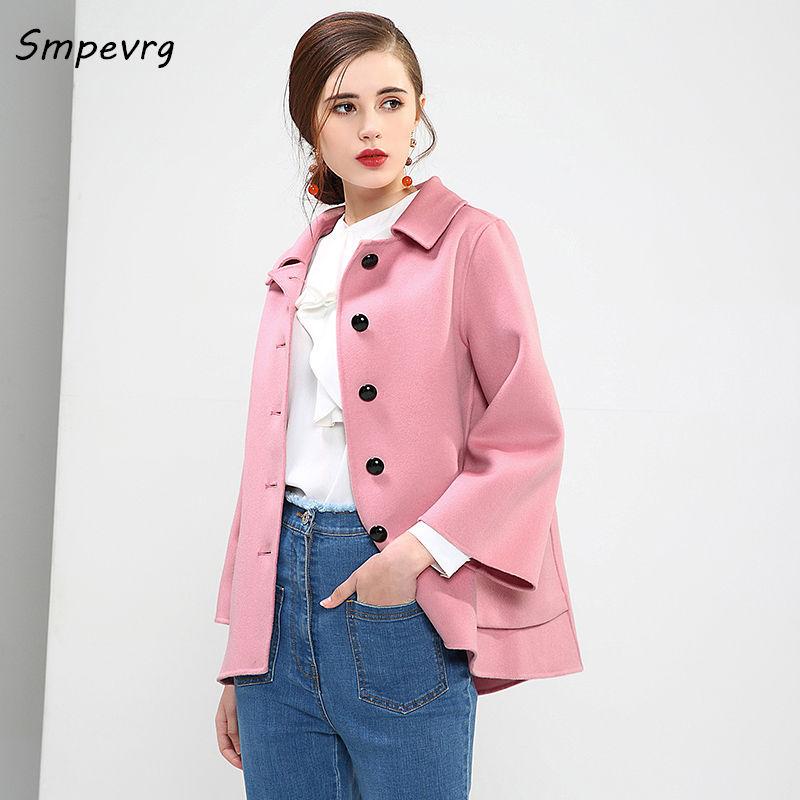 Femmes dark Nouveau Manteau Unique blue Fanshion face Smpevrg 2018 Lâche Woo Veste rangée Blue Cachemire Lblends Double Ourlet pink Rice Boutons Printemps znqtPR