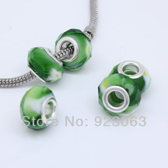 2019 New Style 50pcs/lot Green & White & Yellow Murano Lampwork Glass Faceted Rondelle Spacer Big Hole Charms Beads Fit Diy European Bracelet
