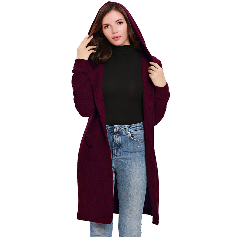 U-SWEAR Winter Autumn Warm Ladies Hooded Knitted Trench Women Long Elegant Outerwear Pockets Coat Female Cloak Overcoat Clothing