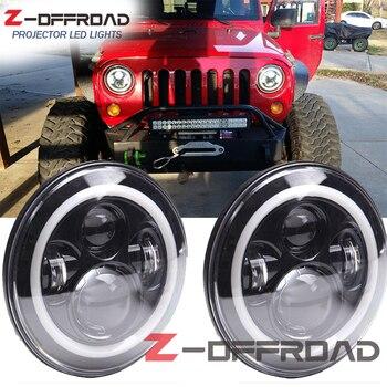 "2pcs 7inch Round H4 LED headlight lighting bulb white Angel Eyes Halo Ring 7"" Headlight bulb replacement For Jeep Wrangler JK CJ"
