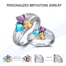 Mothers Rings Personalized Engrave Heart Birthstone Jewelry 925 Sterling Silver Ring Gift for Mom