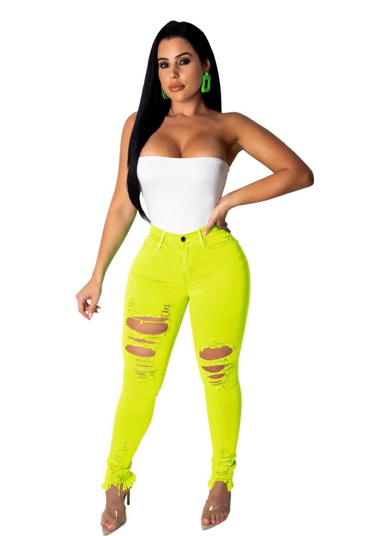 BKLD Women Neon Jeans High Waisted Ripped Jeans Femme Pencil Pants 2019 Streetwear Hole Denim Jeans Stretch Jeans Women Trousers
