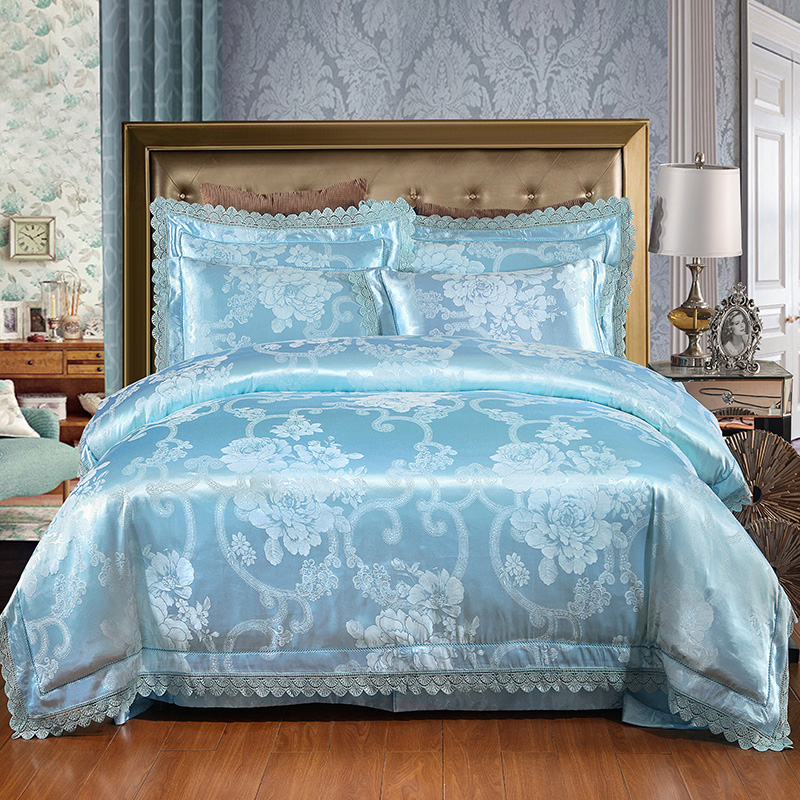 2017 New Luxury Silk Cotton Satin Jacquard  Bedding Set Lace Duvet cover set Bedsheet Pillowcase bed linen Queen King size 4pcs2017 New Luxury Silk Cotton Satin Jacquard  Bedding Set Lace Duvet cover set Bedsheet Pillowcase bed linen Queen King size 4pcs