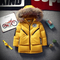 New 2018 Childrens Winter Jacket For Boys Fashion Fur Hooded Thick Cotton Padded Boy Long Coat Solid Parka Kid Clothes Outwears