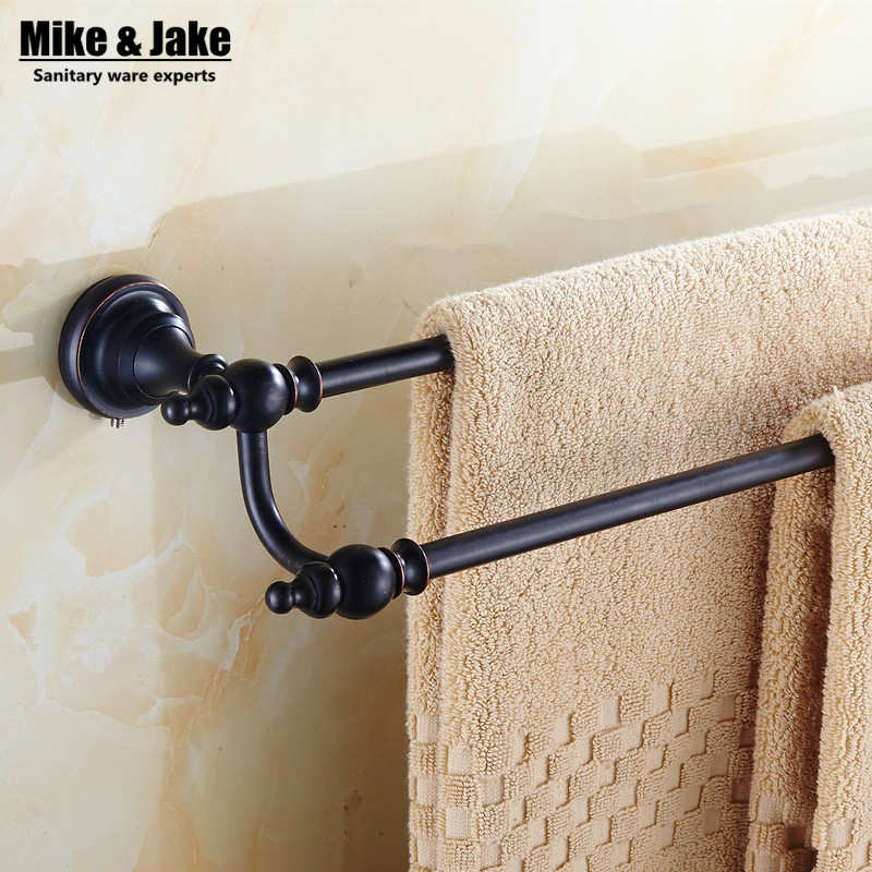 Whole brass black orb single double towel bar 50cm wall mounted towel rack shelf brass towel holder bathroom accessory aluminum wall mounted square antique brass bath towel rack active bathroom towel holder double towel shelf bathroom accessories