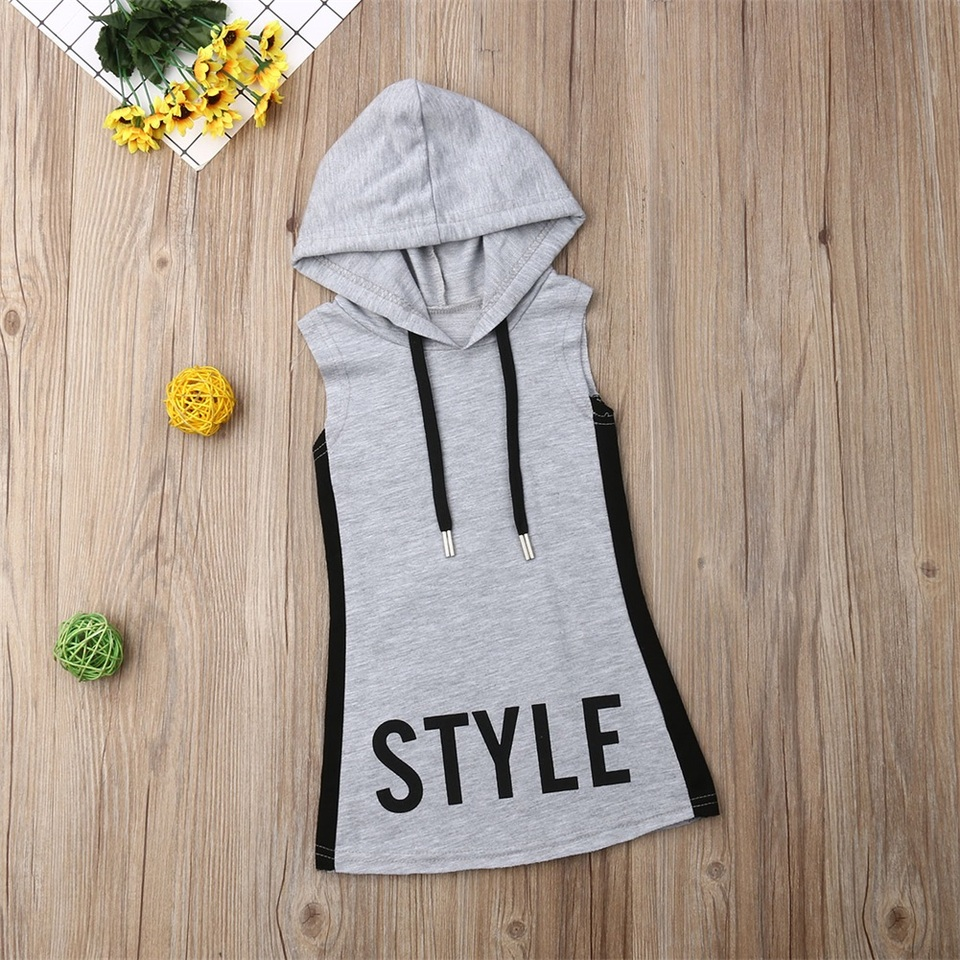 Janly Baby Clothes Girls Letter Hooded Princess Dress Sweatshirt Patchwork Dresses for 0-6 Years Old Kids Casual Outfits