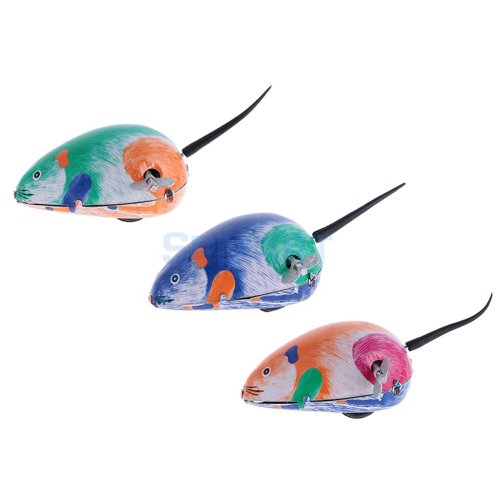 3x Classic Clockwork Vintage Tin Toys Mouse Wind up Toys Metal Walking Mechanical Tin Mouse Collection Decoration Gift