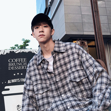цена Hong Kong Style Leisure Cotton Long Sleeve Lattice Male Shirt 2018 Autumn Casual Plaid Thin Pocket Loose Camisa Homme M-2XL