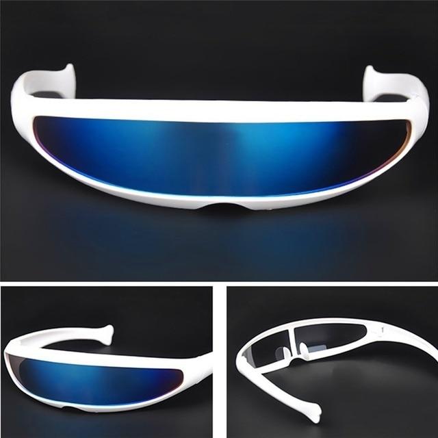 Futuristic Narrow Cyclops Sunglasses UV400 Personality Mirrored Lens Costume Eyewear Glasses Funny Party Mask Decoration 4